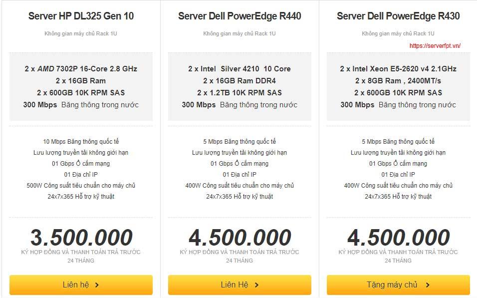Cho thuê Server cấu hình theo yêu cầu giá rẻ 999k
